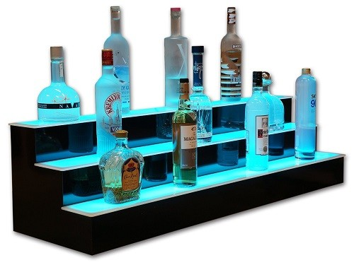 3 Tier LED Lighted Liquor Display Bar Shelves