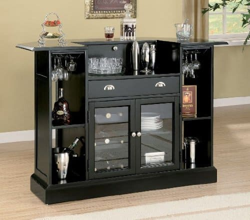 Coaster Contemporary Bar in Black Finish | How to Build Your Own Home Bar