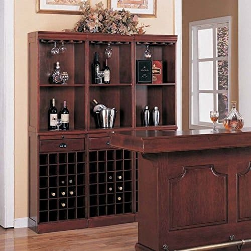 Coaster Lambert Traditional Wine Wall Bar Unit in Cherry   How To Build Your Own Home Bar