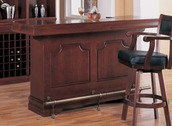 Coaster Traditional Cherry Finish Bar Unit with Wine Rack Sink Drawers | Home Bar Ideas
