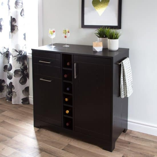 South Shore Vietti Bar Cabinet with Bottle and Glass Storage | Home Bar Ideas