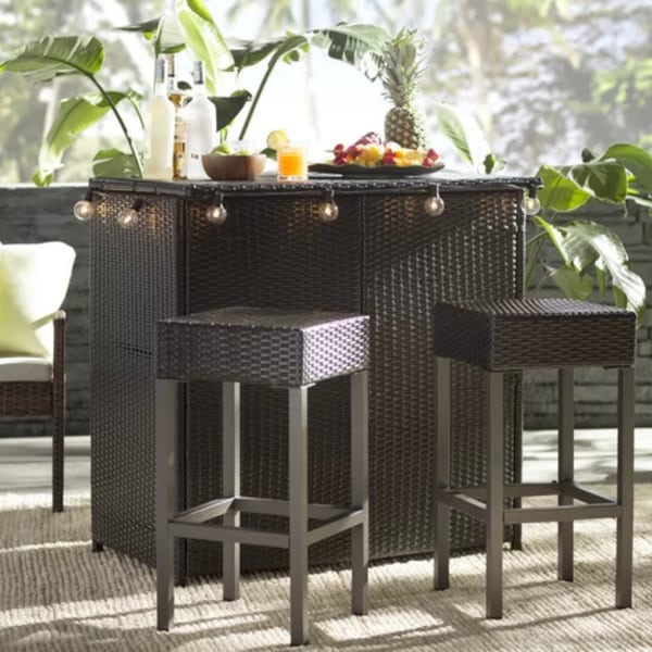 3 piece Patio Bar Set Wicker - Summer Garden Essentials - Outdoor Entertaining