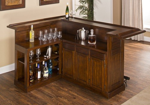 Brown Bar with Wine Storage #liquorcabinet #homebarideas