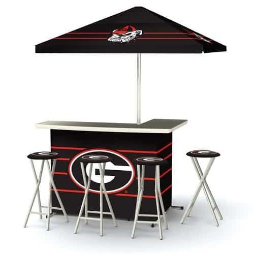Georgia Bulldogs L-shaped Bar Set with umbrella and 4 bar stools