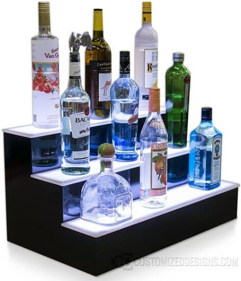 3 Step Led Lighted Bottle Display Shelf with LED Color Changing Lights