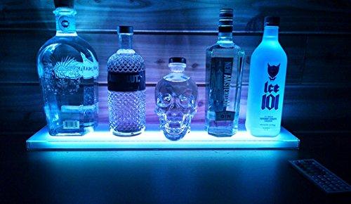 Home Bar Lighting Wine Racks - 2 Ft LED Lighted Liquor Bottle Display Shelf Includes Remote Control