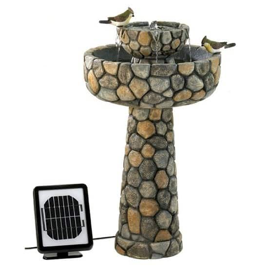 Two-Tier Cobblestone Solar Water Fountain | Best Solar Powered Water Fountains