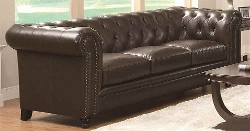 Coaster Home Furnishings Leather Chesterfield Sofa