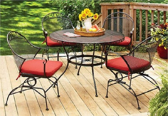 Better Homes and Gardens Clayton Court Wrought Iron 5-piece Patio Dining Set| Wrought Iron Outdoor Furniture