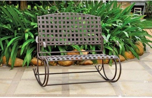 Santa Fe Iron Nailhead Double Rocker Loveseat - Wrought Iron Outdoor Furniture