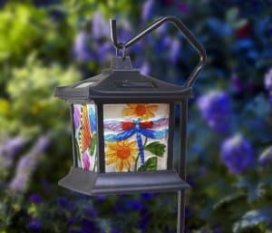 Solar Powered Hanging Floral Stained Glass LED Light | Solar Powered Hanging Lanterns