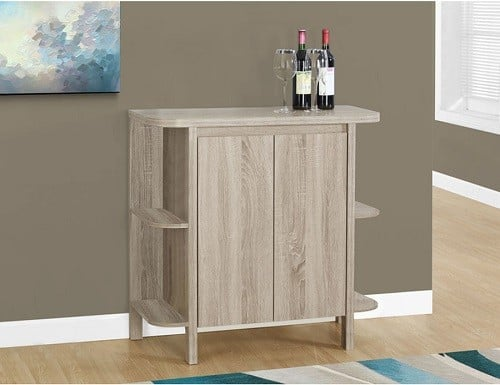 Home Bar Liquor Cabinet in Taupe | Home Bar Liquor Cabinet