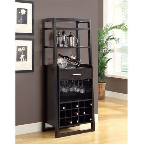 Ladder Style Bar Unit in Cappuccino | Home Bar Liquor Cabinet