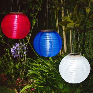 Patriotic Solar Powered Hanging Lanterns in Red, White and Blue | Solar Powered Hanging Lanterns Garden Solar Powered Hanging Lanterns