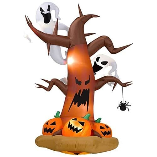 8' Tall Inflatable Dead Tree with Ghost and Pumpkins