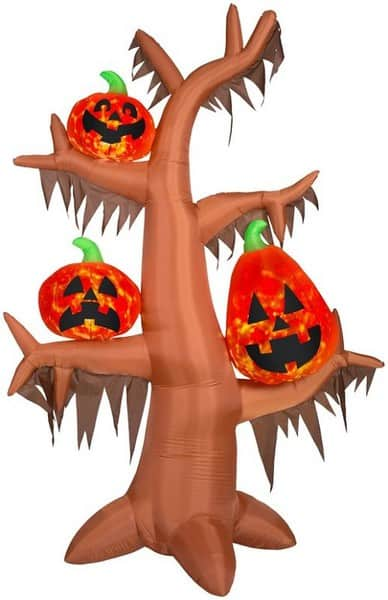 Inflatable Scary Tree with Lighted Pumpkins #halloweendecorations