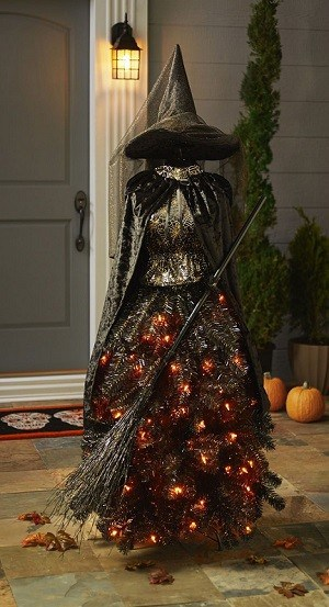 Pre-Lit Halloween Witch Tree comes with 105 amber colored bulbs