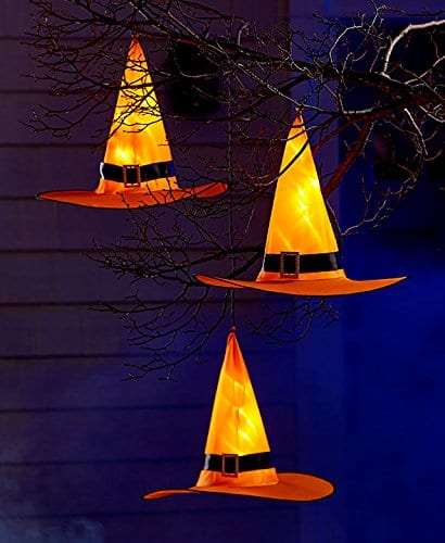 Pre Lit Witch Hat Set of 3 Lighted Outdoor Halloween Decorations