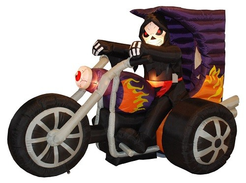Skeleton on Motorcycle with Lights - Large Inflatable Outdoor Halloween Decoration #halloweendecorations