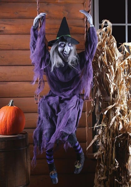 Swinging Witch Outdoor Halloween Decorations