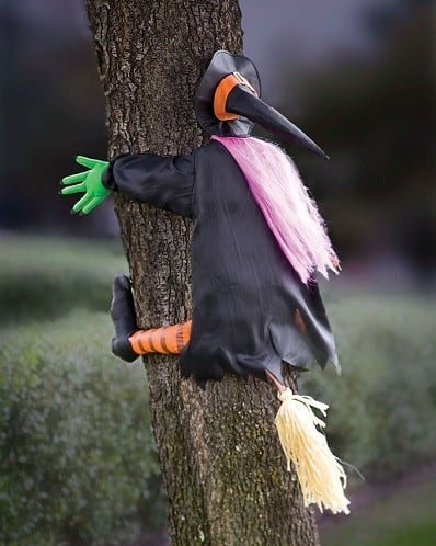 Witch Crashing Into Tree Halloween Decoration