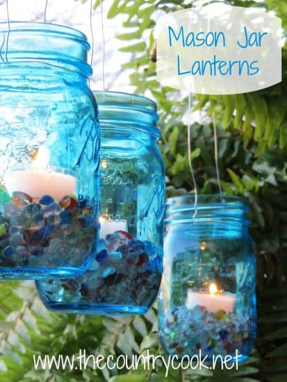 Vintage Blue Mason Jar Lanterns
