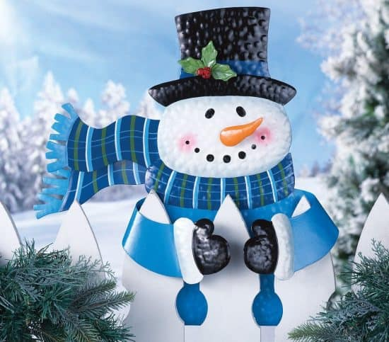 Cute Snowman Christmas Fence Topper