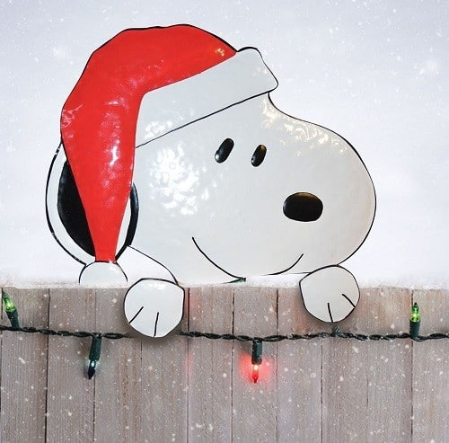 Santa Snoopy Metal Christmas Fence Topper