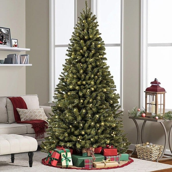 7.5 ft Prelit Premium Spruce Hinged Artificial Christmas Tree W/ 550 Clear Lights And Stand