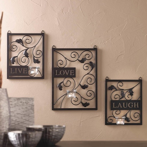 3 Piece Live, Love, Laugh Black Metal Wall Decor with clear glass candle holders #walldecor #wallart #homedecor