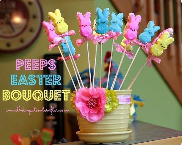 DIY Peeps Easter Bouquet - Easter Crafts for Kids #CraftsForKids