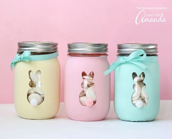 Easter Mason Jar Crafts - Easter Bunny Mason Jars #easycrafs #eastercrafts #eastercraftideas