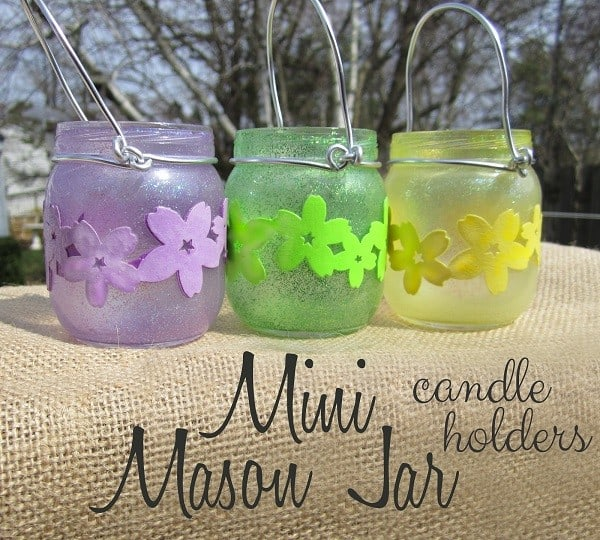 Mason Jar Candle Holders with glitter and flowers