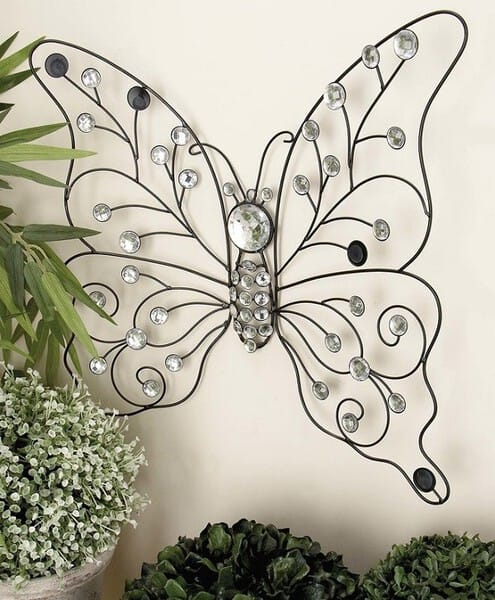Metal Butterfly Wall Decor made from iron with acrylic beads #butterflywallart #cheapwallart #homewalldecor