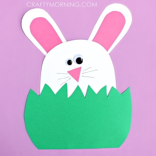 Paper Bunny Hiding in the Grass Craft #EasterCraftsForKids #EasterCrafts