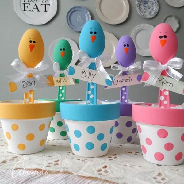 Plastic Spoon Easter Chicks - Easter Crafts for Kids