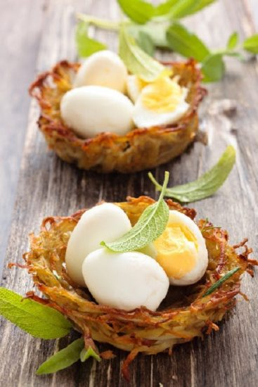 Potato Nests with Boiled Eggs