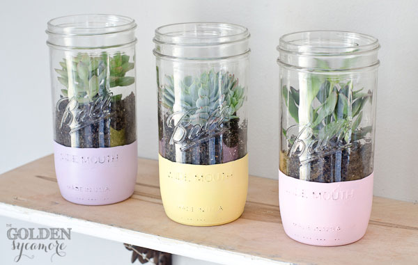 painted mason jar succulent planter - Easter Mason Jar Crafts