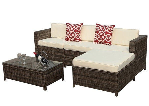 5 Piece Outdoor Patio Furniture set | Sectional Patio Furniture Set with Cream White Seat and Back Cushions, Steel Frame and Red Throw Pillows