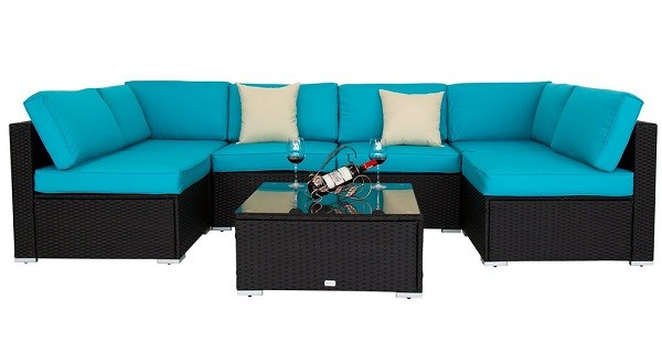 7 Piece Outdoor Patio Sofa Sectional Furniture Set With 2 Pillows and Coffee Table