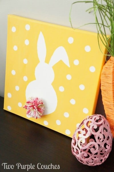 Easter Bunny Canvas Art #EasterCrafts #EasterDecor