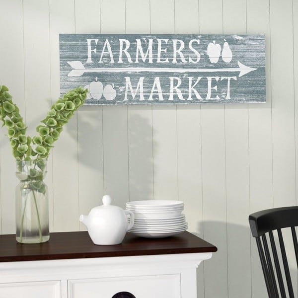Farmers Market Farmhouse Kitchen Sign made from natural pine wood #farmhousedecor #farmhousekitchen