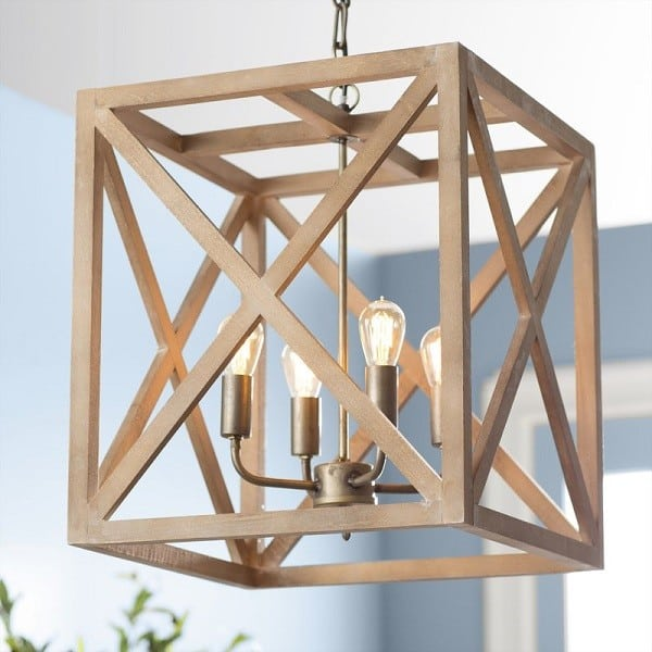 Farmhouse style 4-light chandelier made from steel and wood. #farmhouselighting #farmhousedecor