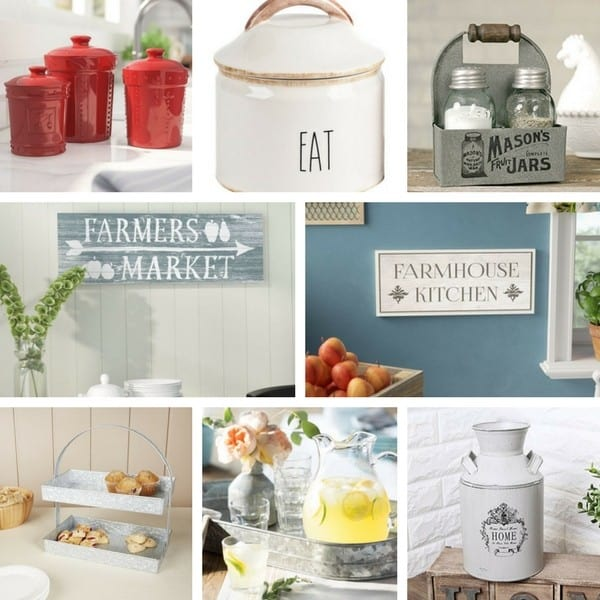 Farmhouse Style Kitchen accessories to transform your kitchen on a budget #farmhousedecor #farmhousekitchendecor