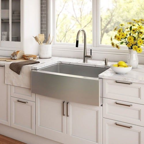 Farmhouse Style Kitchen Sink made from durable stainless steel #FarmhouseDecor