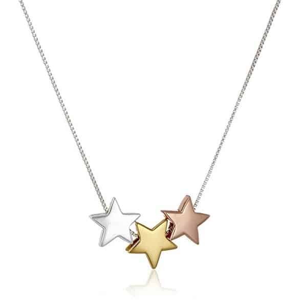 Lucky Stars Necklace made from 925 silver with Rose gold, Silver and Yellow Gold stars