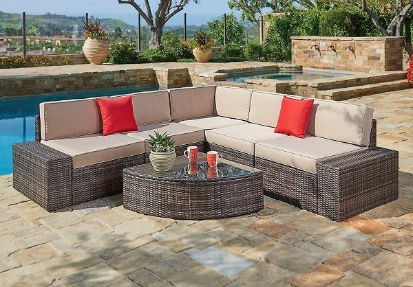 Outdoor Patio Sofa Set with Wedge Shaped Coffee Table