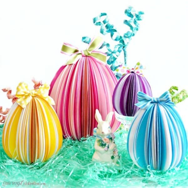 Paper Easter Eggs | DIY Easter Craft | All You Need is cardstock, glue and ribbons or bows