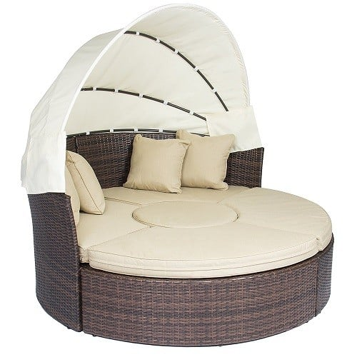 Round Outdoor Patio Sofa with Canopy - Outdoor Patio Sofa Furniture