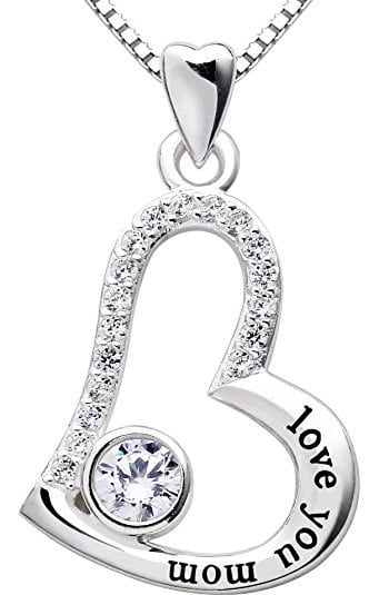 Sterling Silver Love you mom Heart Pendant Necklace